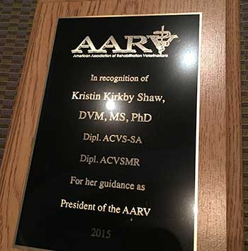 Plaque honoring Dr. Kristin Kirkby Shaw for serving as 2015 AARV president